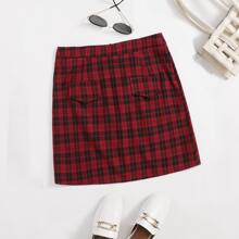 Plus Tartan Plaid Zipper Back Skirt
