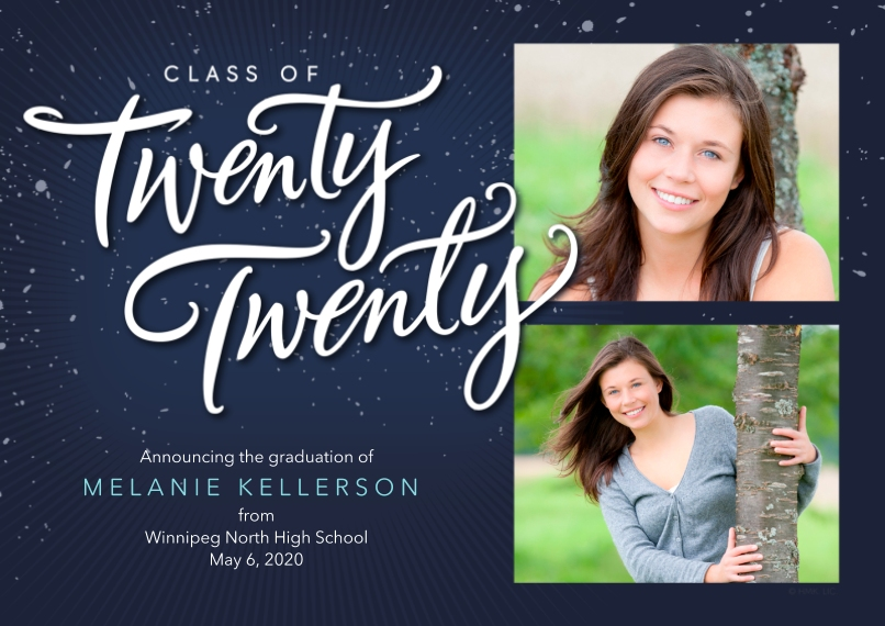 2020 Graduation Announcements 5x7 Cards, Premium Cardstock 120lb with Scalloped Corners, Card & Stationery -Class of Twenty Twenty Graduation Announce