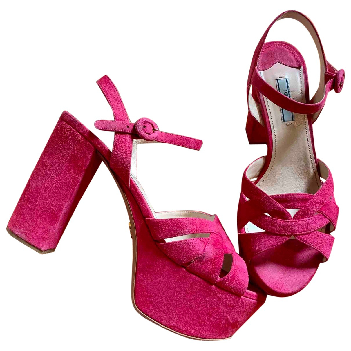 Prada \N Pink Suede Sandals for Women 40 EU