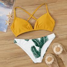Bikini con estampado de hoja de palma top de espalda con cordon