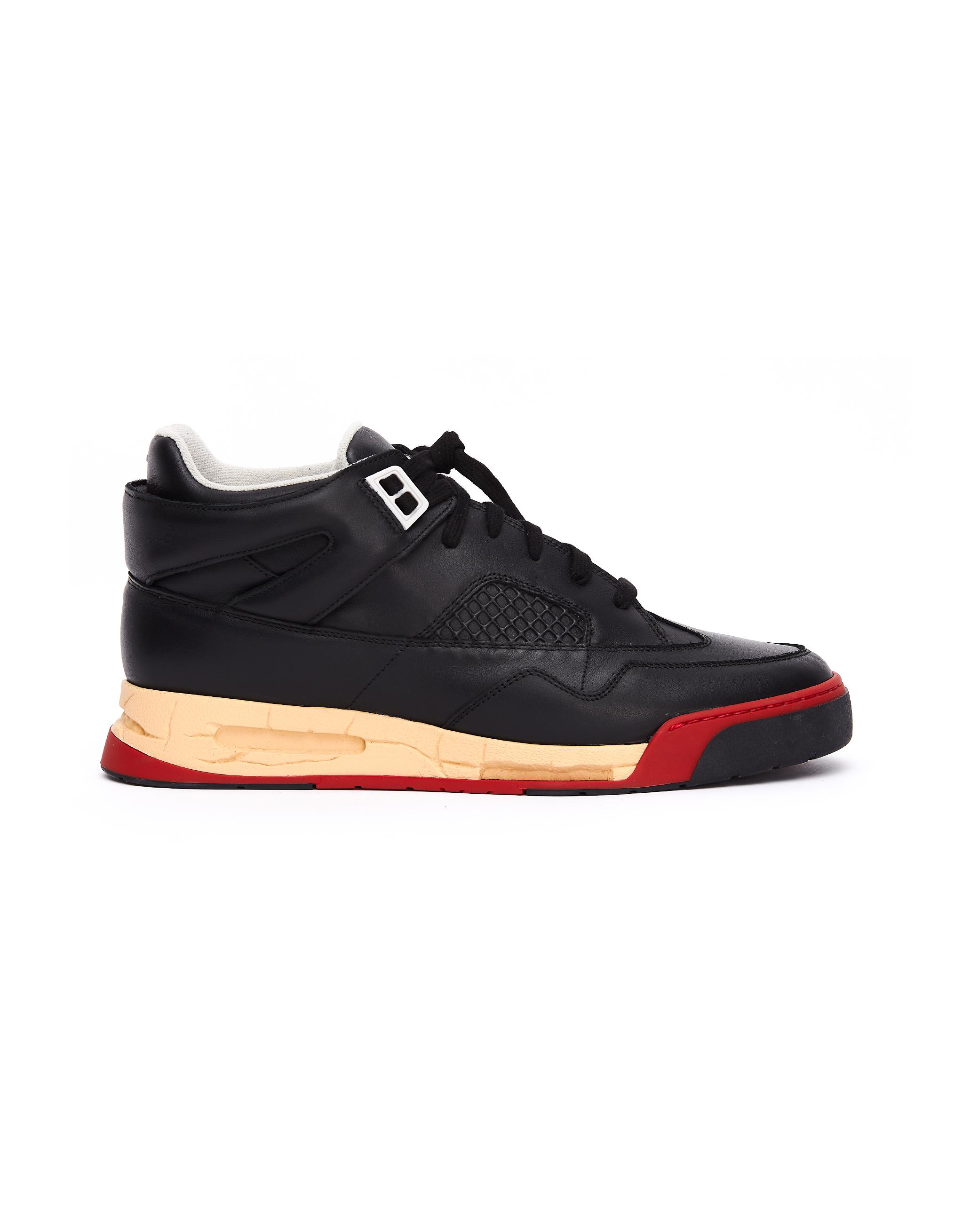 Maison Margiela DDSTCK Mid-High Black Leather Sneakers