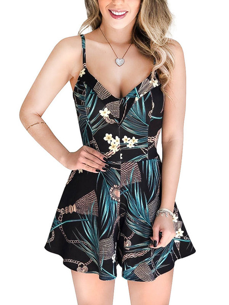 Milanoo Floral Romper Shorts Print Sleeveless Backless Wide Leg Playsuit