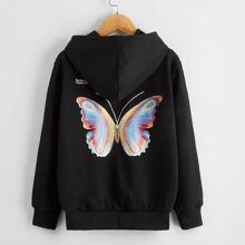 Hoodie mit Schmetterling & Buchstaben Muster