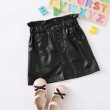 Toddler Girls PU Button Front Paperbag Waist Skirt