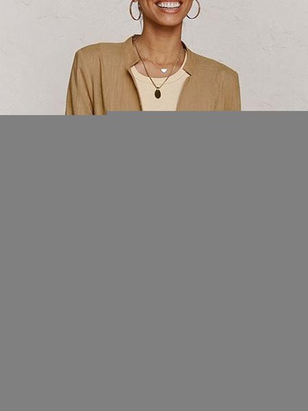 Milanoo Blazer para mujer, color caqui, con escote con muesca, botones, manga larga, algodon, blazers
