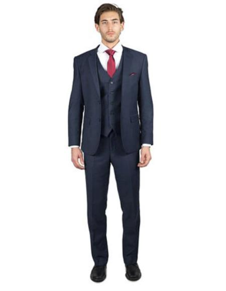 Mens 2 Button Three Piece TR Blend Suit