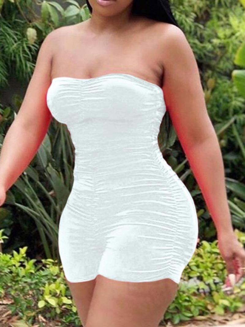 Ericdress Simple Pleated Plain Skinny Jumpsuit