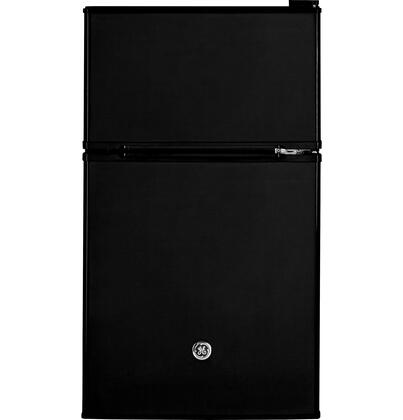 GDE03GGKBB Energy Star Qualified Compact Double-door Refrigerator with 3.1 cu. ft. Capacity  Tall bottle door storage  Can rack  2 Glass cabinet