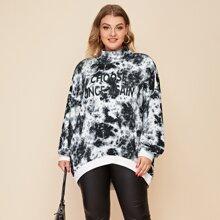 Pullover mit Stehkragen, Buchstaben Grafik und Batik