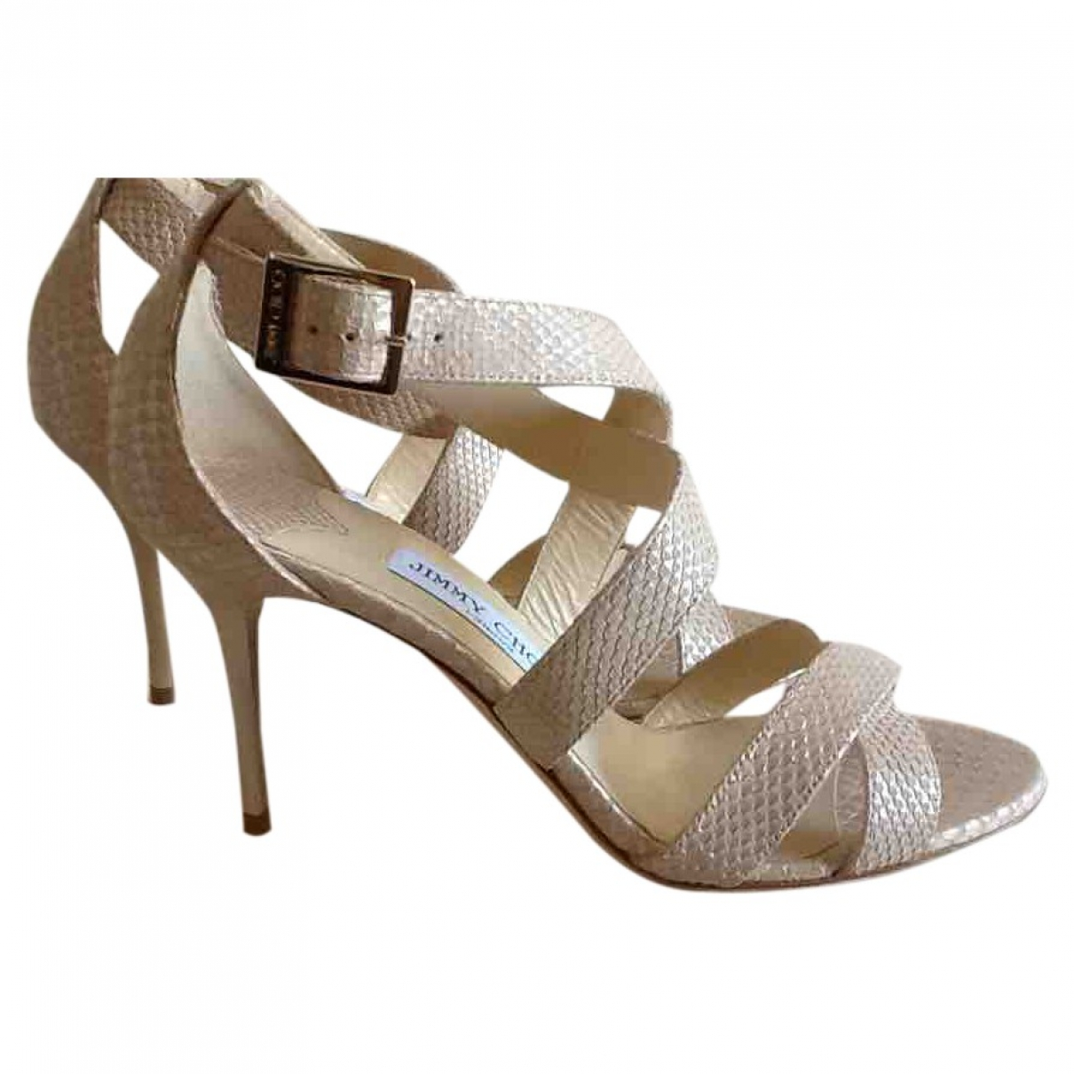 Jimmy Choo Emily Beige Leather Sandals for Women 38.5 EU