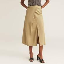 PREMIUM Falda bajo con abertura con diseño de bolsillo
