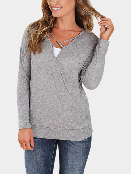 Yoins Grey Crossed Front Design V-neck Tee
