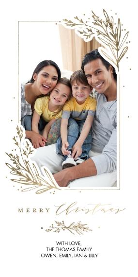 Christmas Photo Cards 4x8 Flat Card Set, 85lb, Card & Stationery -Christmas Framed Foliage by Tumbalina
