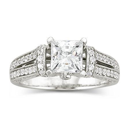 DiamonArt Cubic Zirconia Engagement Ring, 7 , No Color Family
