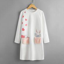 Kleid mit Kunstpelz, Taschen, Herzen & Karikatur Grafik