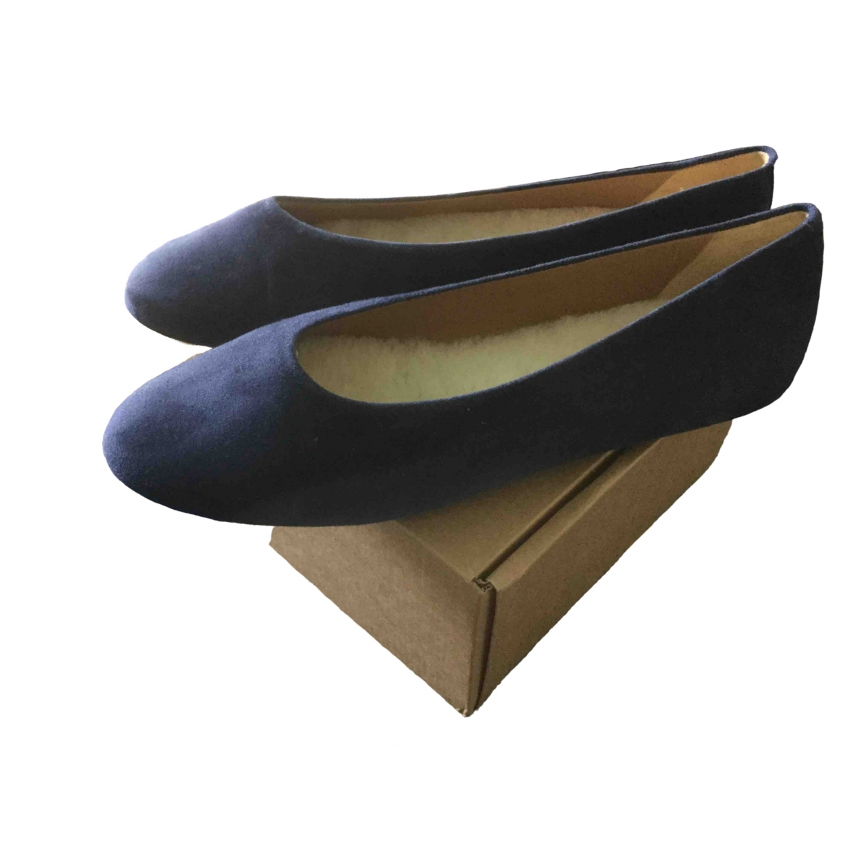 Flattered \N Ballerinas in  Blau Veloursleder