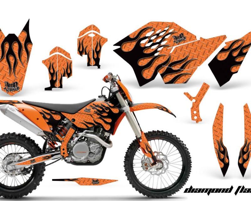 AMR Racing Dirt Bike Graphics Kit Decal Wrap For KTM SX/XCR-W/EXC/XC/XC-W/XCF-W 2007-2011áDIAMOND FLAMES BLACK ORANGE