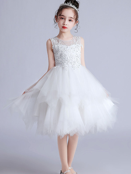 Milanoo Flower Girl Dresses Jewel Neck Tulle Short Sleeves Knee-Length Princess Silhouette Embroidered Kids Social Party Dresses