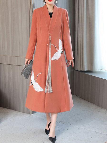 Milanoo Women Winter Coat V Neck Long Sleeve Embroidered Two Tone Longline Coat
