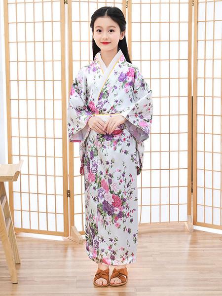 Milanoo Disfraz Halloween Disfraces japoneses Kimono para niños Vestido de poliester blanco Conjunto de mujeres orientales Disfraces de vacaciones Car