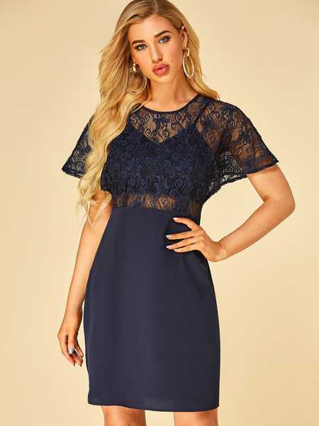 YOINS Navy Lace Patchwork With Lining Short Sleeves Dress