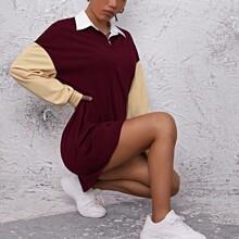 Polo Kleid mit Kontrast Kragen, Knopfen vorn und Farbblock