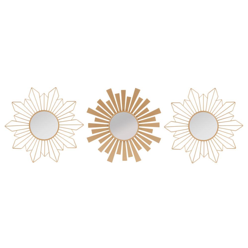 Set aus 3 Spiegeln mit mattgoldenem Metallrahmen D.25