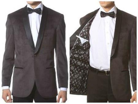 Mens Grey 1 Button Velvet ~ Velour Tuxedo With Black