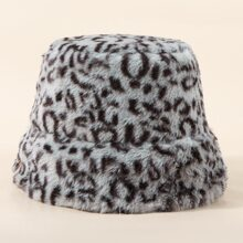 Leopard Print Fluffy Bucket Hat