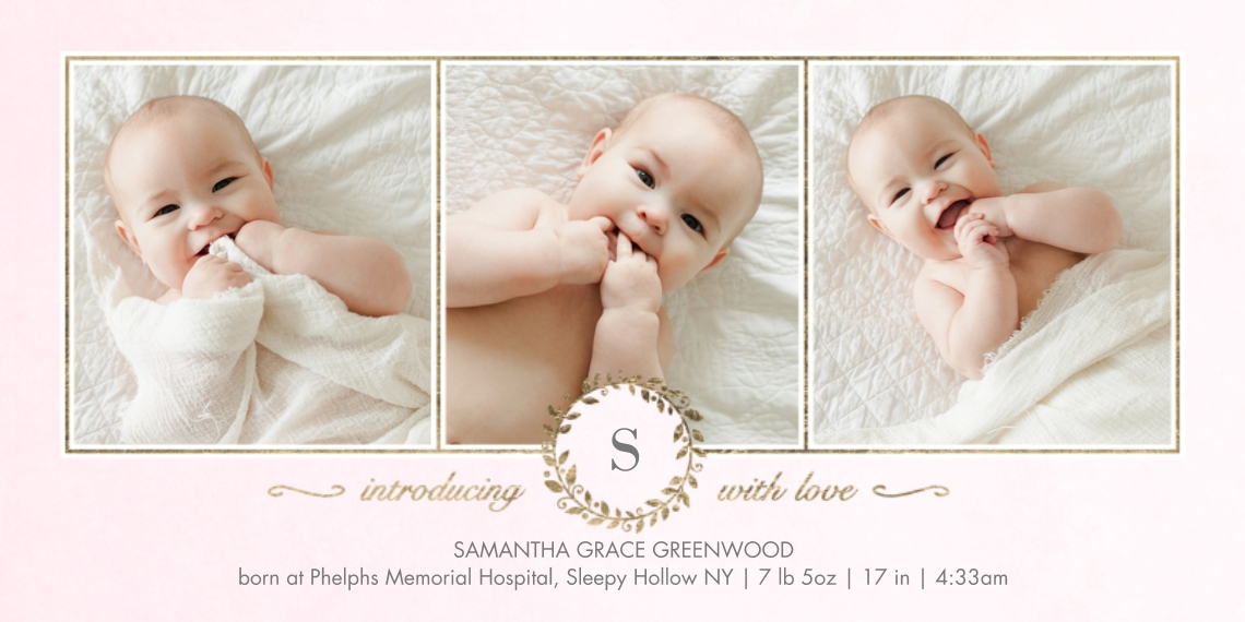 Baby Announcements 4x8 Flat Card Set, 85lb, Card & Stationery -Baby Monogram Wreath by Tumbalina