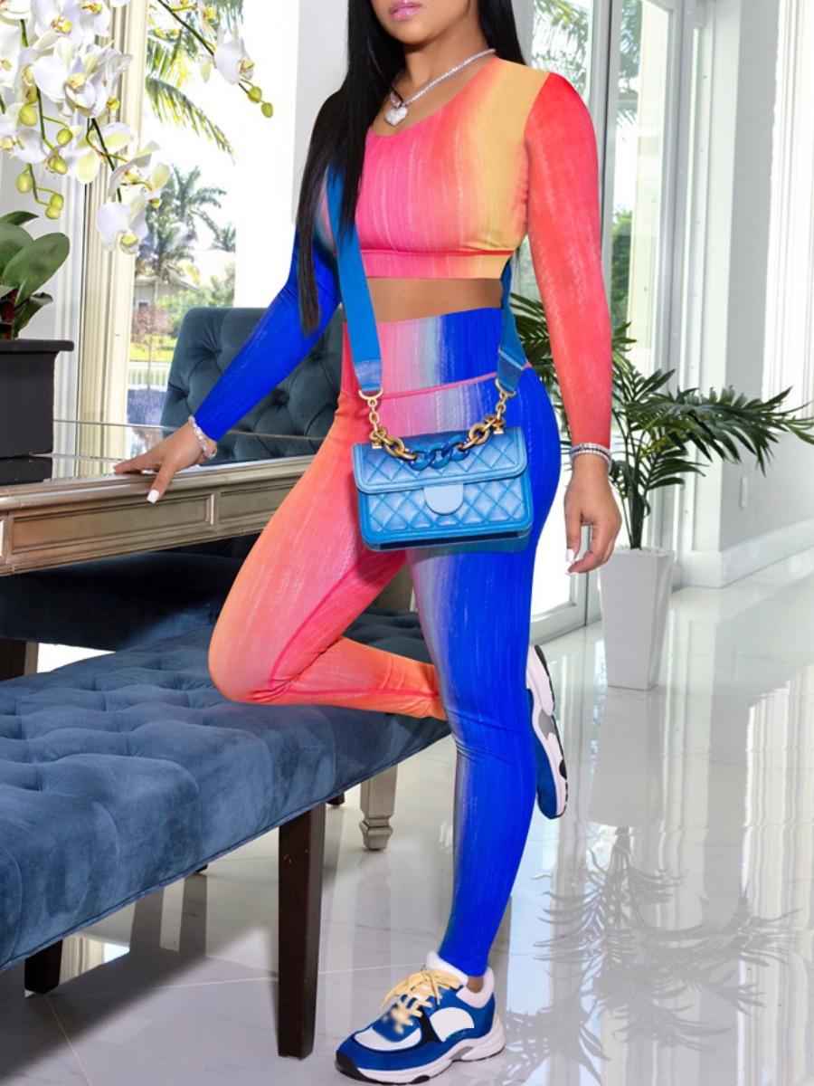 LW lovely Sportswear U Neck Tie Dye Blue Two Piece Pants Set