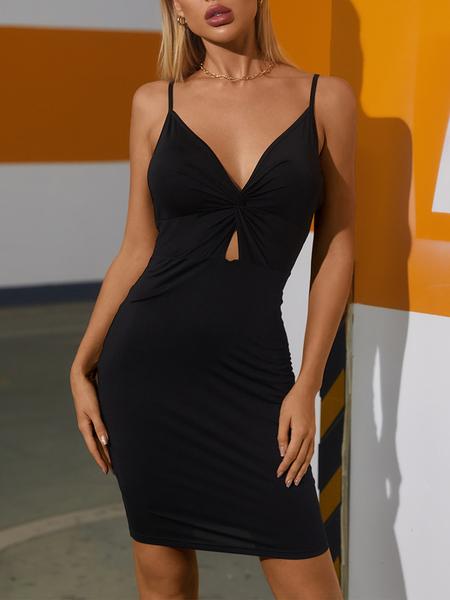 YOINS Black Twist V-neck Spaghetti Strap Sleeveless Dress