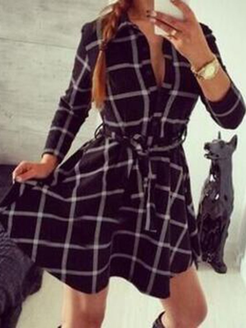 Ericdress Polo Neck Long Sleeve Lace-Up Single-Breasted Plaid Dress
