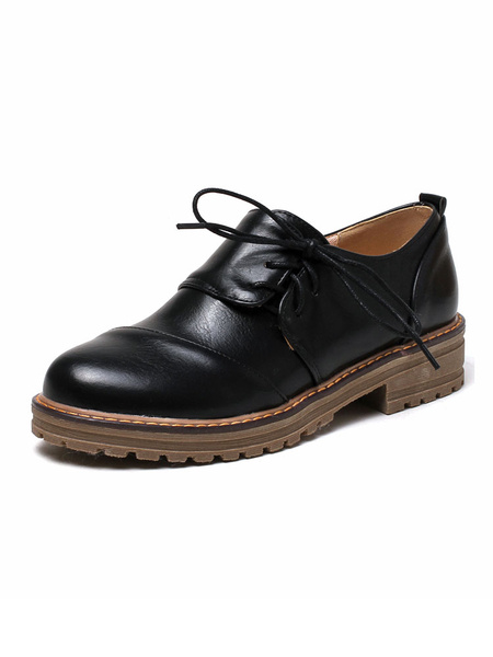 Milanoo Zapatos Oxford de mujer con punta redonda negra cordones zapatos casuales