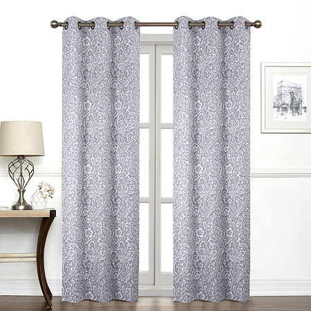 Regal Home York Paisley Light-Filtering Grommet-Top Single Curtain Panel, One Size , Gray