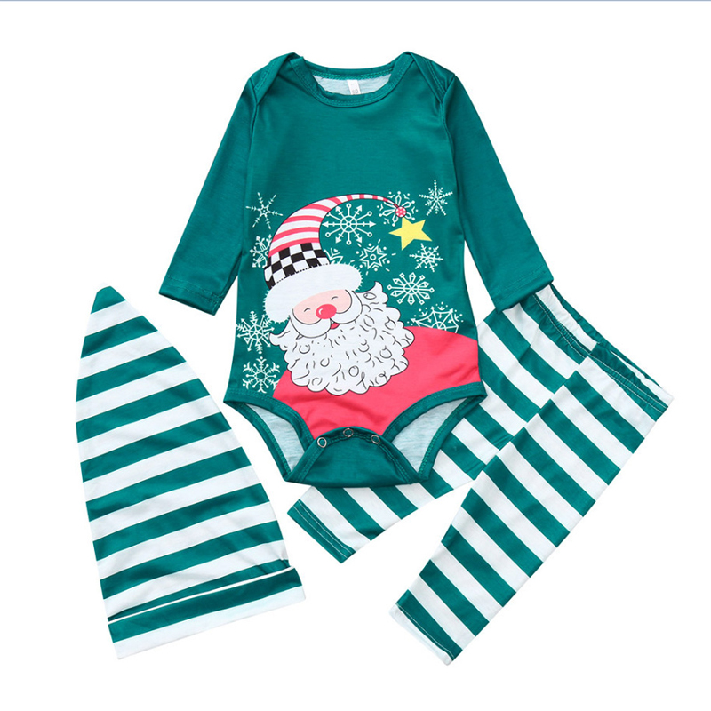 Warm Green Santa Claus and Snowflake Print Christmas Family Pajamas Outfit