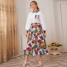 Conjunto camisa con bolsillo delantero con falda con estampado floral