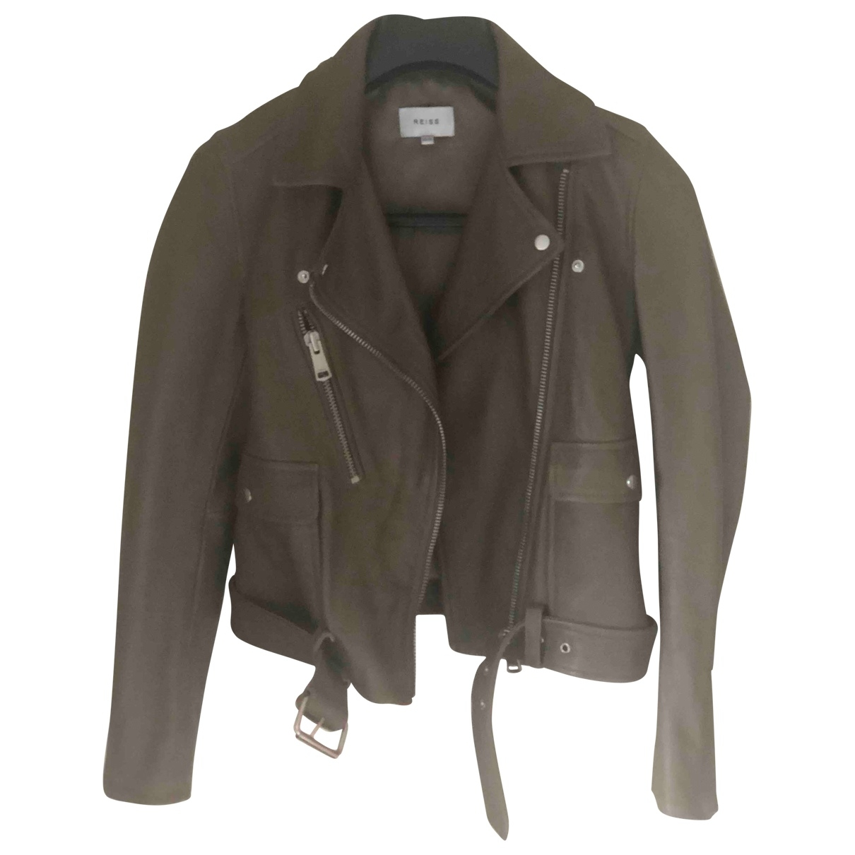 Reiss \N Khaki Leather jacket for Women 6 UK