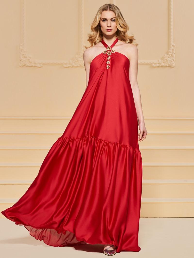Ericdress A Line Beaded Halter Backless Evening Dress