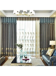 Modern Simple Grey Chenille Embroidered Blackout Custom Grommet Curtains for Living Room Bedroom