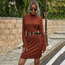 Stand Neck Rib-knit Dress Without Belted