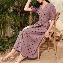 Puff Sleeve Belted Polka Dot Dress