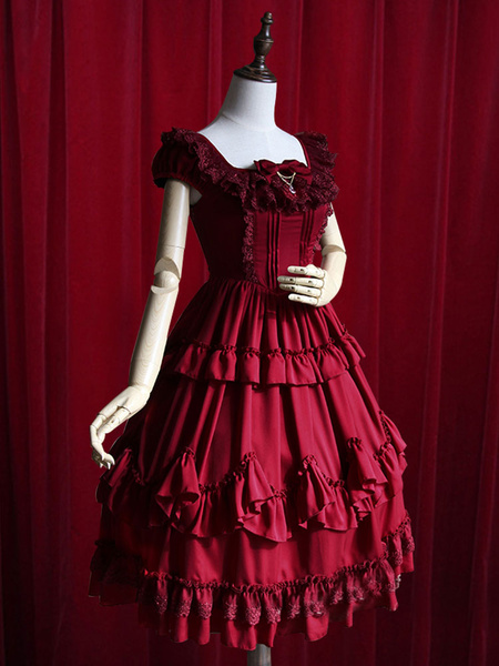 Milanoo Burgundy Lolita Dress Ruffles Cotton Dress for Women