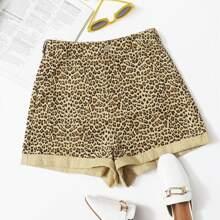 Shorts de leopardo de doblez
