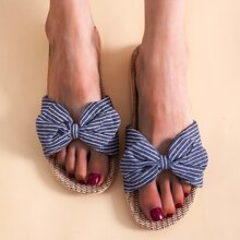 Striped Bow Decor Slippers