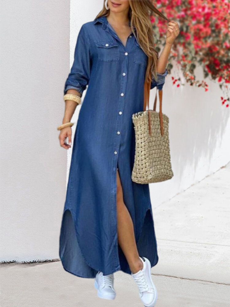 Casual Printed Turn-down Collar Chest Pockets Button Long Sleeve Shirt Dress
