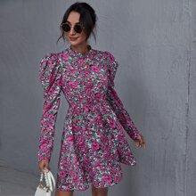 Mock-Neck Leg-of-mutton Sleeve Floral Dress