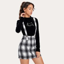 Plaid Mini Skirt With Strap