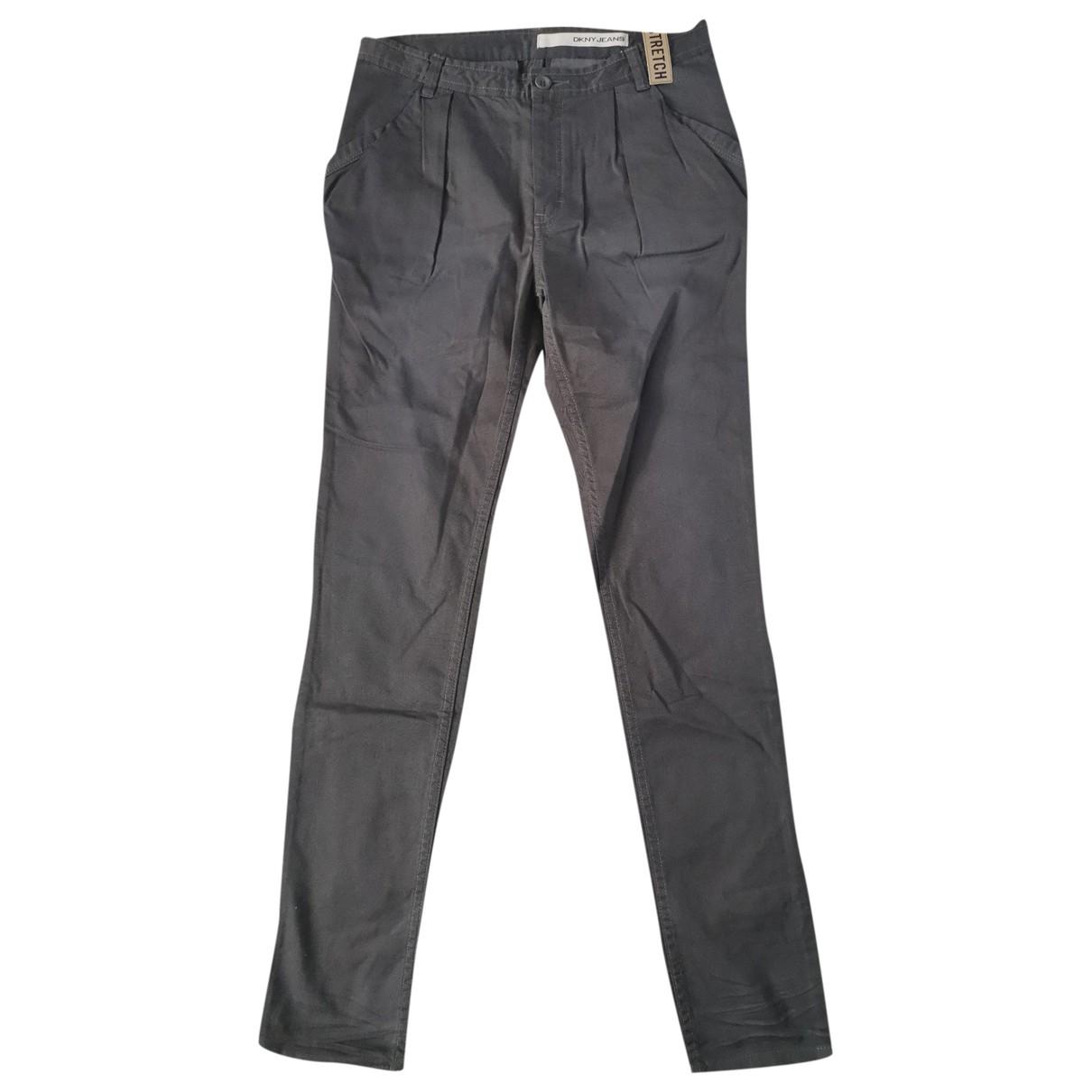 Dkny \N Khaki Cotton Trousers for Women 8 UK