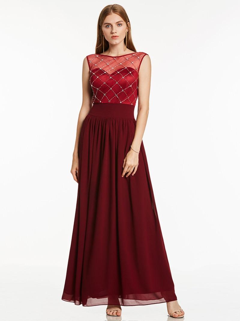 Ericdress Scoop Neck Zipper-Up Beaded A Line Evening Dress